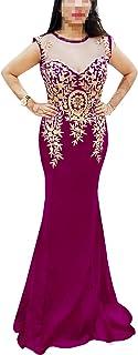 African Boutique Damen Abendkleid, mit Strasssteinbesatz, lange Zari-Stickerei, Meerjungfrau, Abendkleid, Abschlussball