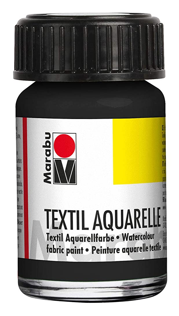 Marabu 17090039073 Textil Aquarelle Highly-Brilliant Pigmented Watercolour Water-Based for Light Textiles Odour-Neutral, Lightfast, Saliva-Resistant Soft Grip 15 ml Black