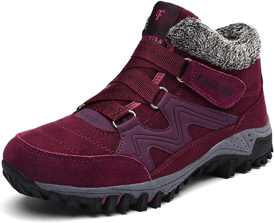 Mens Womens Snow Boots Fur Lined Winter Ankle Booties Non-Slip Lightweight Waterproof Trekking Hiking Walking Shoes Outdoor Sneaker Red-Black-40