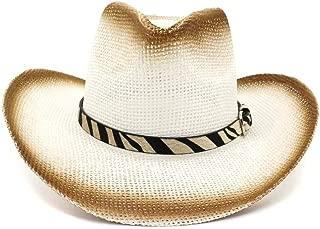 XinLin Du Women's Men's Western Cowboy Straw Sun Hat Outdoor Seaside Sun Visor Stripe Decorative Leather Belt Beach Hat