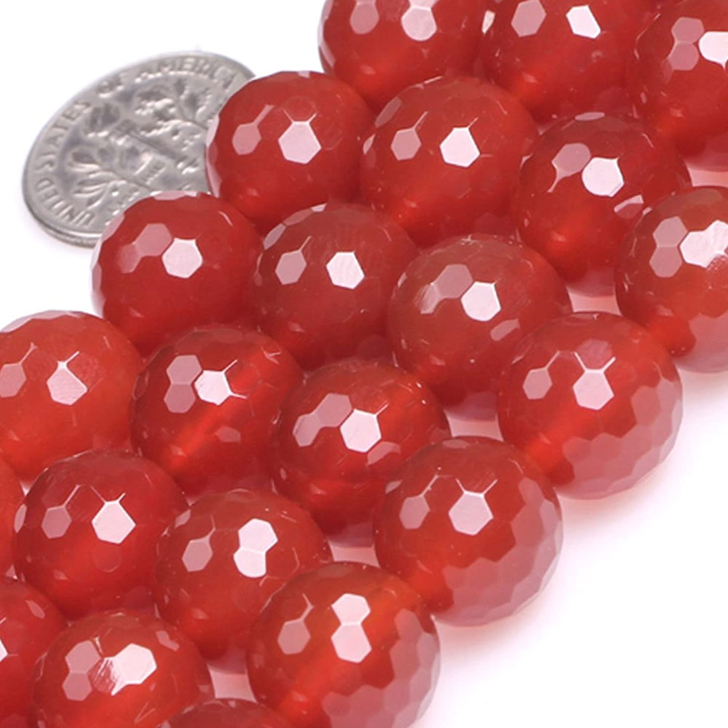 GEM-Inside Red Agate Gemstone Loose Beads Natural 12mm Round Faceted Crystal Energy Stone Power for Jewelry Making 15
