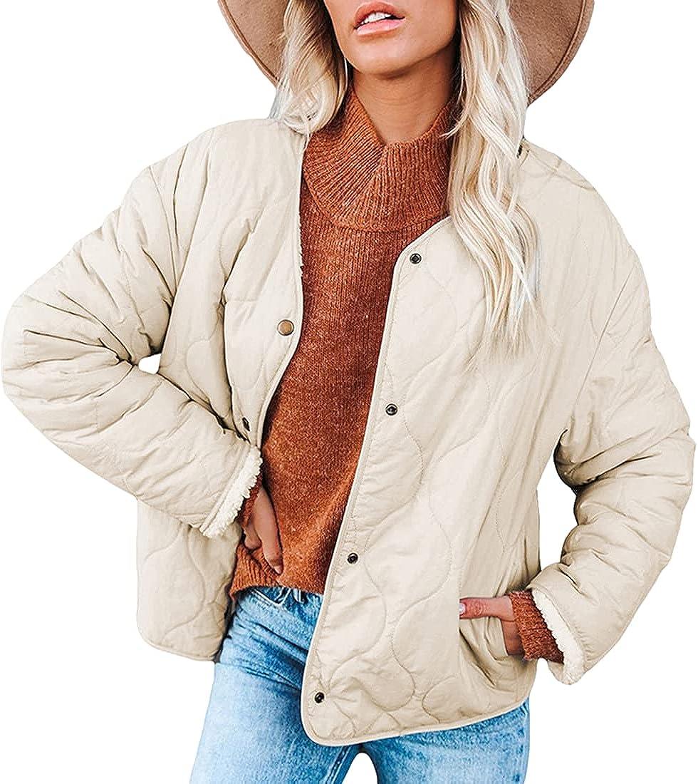 Omoone Women's Quilted Down Jacket Long Sleeve Snap Button Fleece Winter Coat