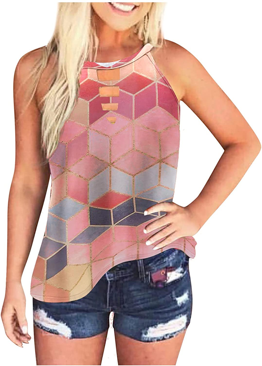 AODONG Tank Tops for Women Trendy, Womens Tie-Dye Summer Shirts Sleeveless Daily Tees Pullover T-Shirts Loose Blouses