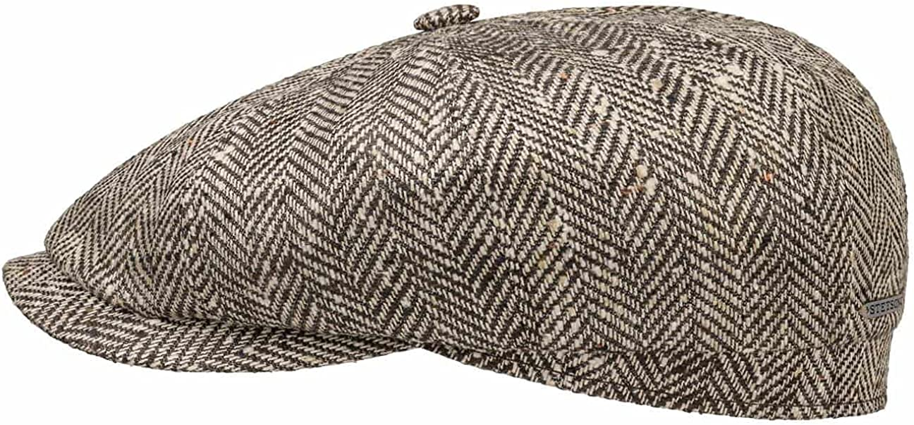 Stetson Hatteras Herringbone Silk Flat Cap Men - Made in Germany