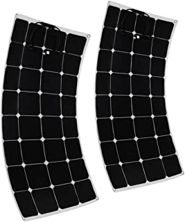 uxcell 2pcs 100W 18V Solar Panel Charger Solar Cell Ultra Thin Flexible with MC4 Connector Charging for RV Boat Cabin Tent Car