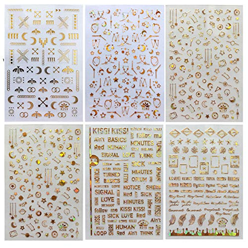 6 Sheets 3D Self-Adhesive Nail Art Stickers for Womens Girls, Kalolary Noble Luxury Metal Nail Art Stickers Supplies Manicure Fingernail Decorations for Women Girls Kids DIY or Nail Salon