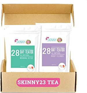 Skinny23 Detox 28 Day-Time and 28 Night-Time Weight Loss Tea Bundle (56 Total Tea Bags), USDA Organic, Laxative-Free, Flatten Tummy, Great Taste, Boost Energy, Reduce Bloating & Suppress Appetite