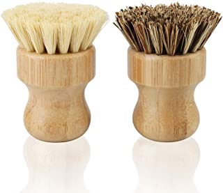 2 Pack Bamboo Dish Scrub Brush, Picowe Natural Scrub Cleaning Brush Vegetable Brush for Dishes Cast Iron Pots Pans, Used i...
