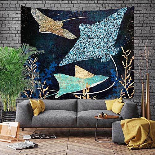 Tapiz de estilo cómic japonés ballena dragón pez dragón y tótem de fénix colgante de pared manta de pared bohemia revestimiento de pared A8 180x200cm