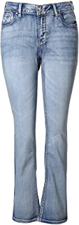 MSSHE Women's Plus Size Vintage Stretchy High Waisted Skinny Little-Flared Jeans