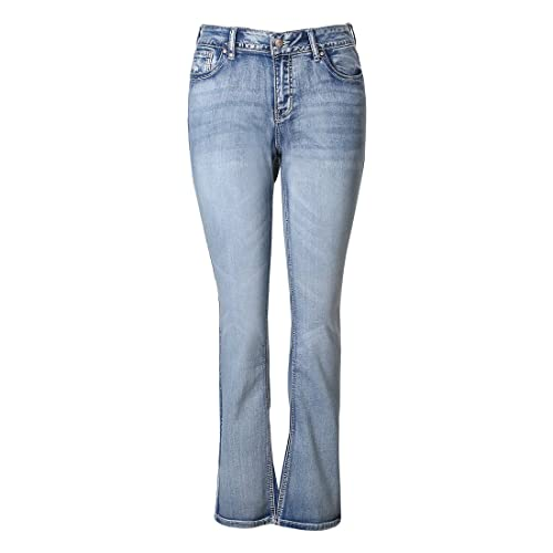 8db73b86228 MSSHE Women s Plus Size Vintage Stretchy High Waisted Skinny Little-Flared  Jeans