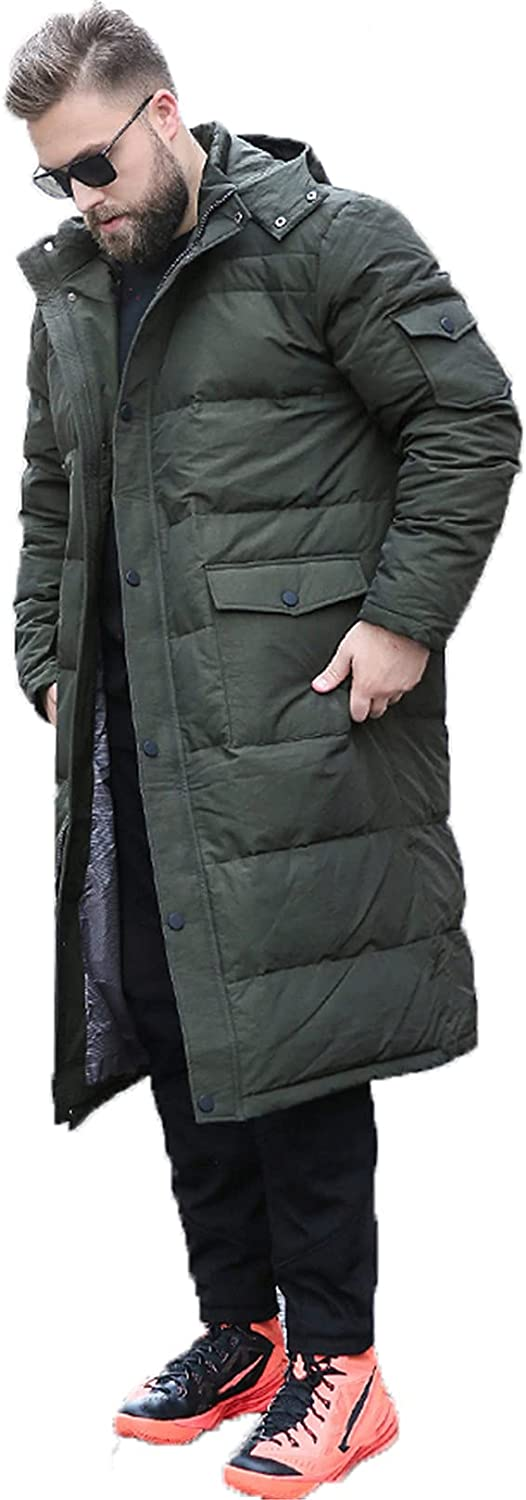 Men's Winter Down Jacket Hooded Maxi Parka, Plus Size Thick Faux Fur Hooded Coat Warm Outerwear Windproof Parka Puffer Jacket