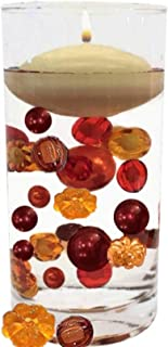 Floating Pumpkins & Pearls - Jumbo/Assorted Sizes Vase Decorations and Table Scatter + Includes Transparent Water Gels for Floating The Pearls