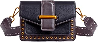 Fine Bag/Retro Wild Shoulder Bag Wide Shoulder Strap Rivet Small Square Bag Casual Large Capacity Crossbody Bag Dating School (Color : Black, Size : 20.5 * 7.3 * 15cm)