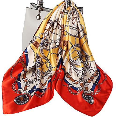 Ecroon Foulard Carr項charpes et Foulards Femme Ch⬥s ɣharpes Square Motif d'Impression Satin de Soie Bandanas,Taille unique,Multicolore