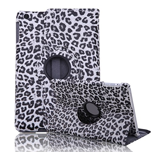 HDE iPad Mini Tablet Case 360 Rotating Flip Stand Folding Folio Magnetic Cover PU Leather for Apple Mini 2/3 Retina (Gray Leopard Print)