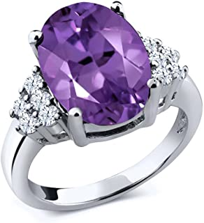 Sterling Silver Purple Amethyst & White Topaz Gemstone Women's Ring 4.90 cttw 14x10mm Oval (Available 5,6,7,8,9)