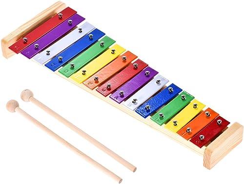 Ammoon Xylophone Glockenspiel Coloré Bois et Aluminium Instrument Musical de Percussion Éducatif 15 Tons avec 2 Maillets