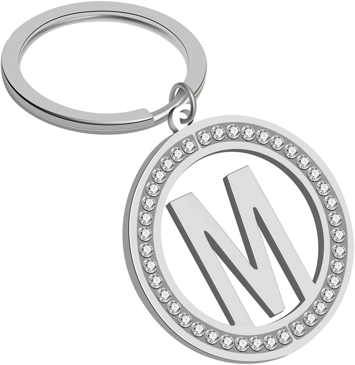 Giftale Girly Letter Keychain Personalized Rhinestone Initial M Pendant Bag Charm Alphabet Key Ring with Ball Chain Necklace