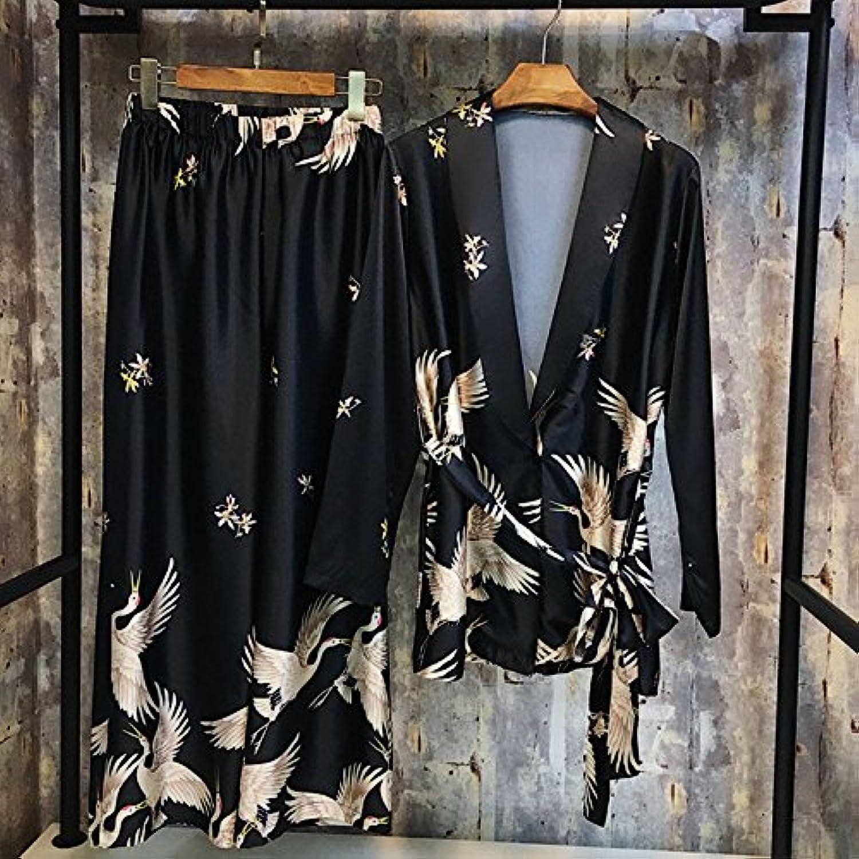 LzQuny Nightwear Long Sleeved Silk Nightwear Sexy Home Dress Suit,Black