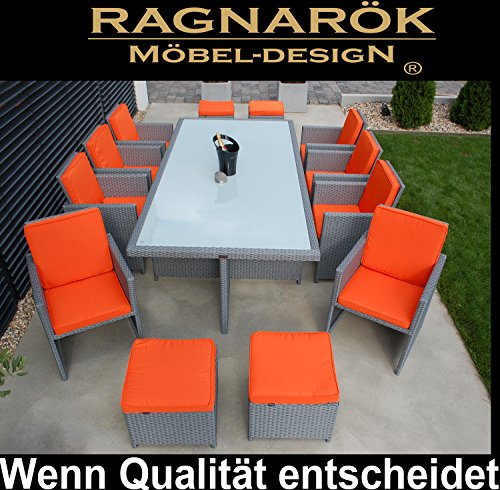 Ragnarök-Möbeldesign polyrotan eettafel Duits merk - eigen productie tafel + 8X stoel & 4X kruk 8 jaar garantie glas zitkussen platinum grijs tuinmeubelen tuintafel aluminium rotan