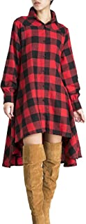 Womens New Plaids Irregular Hem Casual Shirt Dress