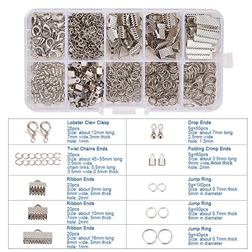 PandaHall Elite 1Box/440 pcs Jewelry Findings Sets, with Iron Folding Crimp Ends & Ribbon Ends & Jump Rings & Twist Chains, Alloy End Piece and Brass Lobster Claw Clasps, Platinum