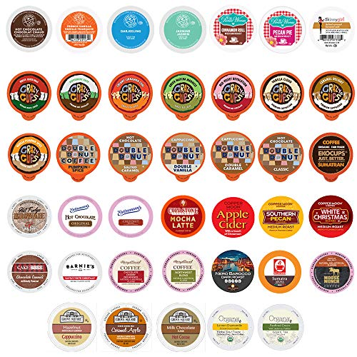 Perfect Samplers Mix Coffee, Tea, Cider,Cappuccino For Keurig K Cups Brewers, includes Hot Cocoa from Grove Square and Crazy Cups, .0 40 Count (Pack Of 1)