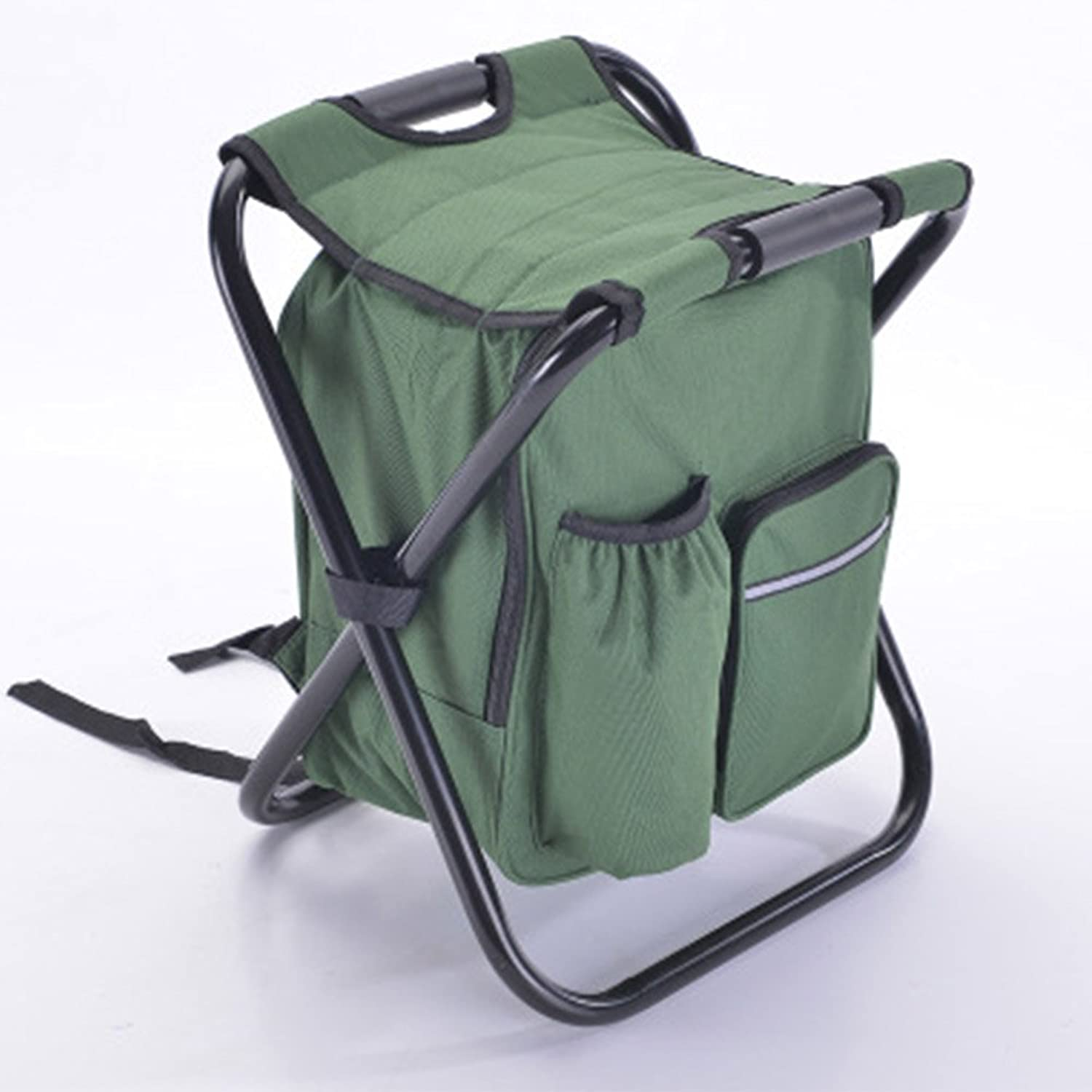 Folding Cooler and Stool Backpack,Foldable Chair with Double Layer Oxford Fabric Cooler Bag for Fishing