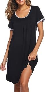 Nightgown Womens Cotton Sleepwear Short Sleep Shirt Pleated Scoopneck Nightshirt S-XXL