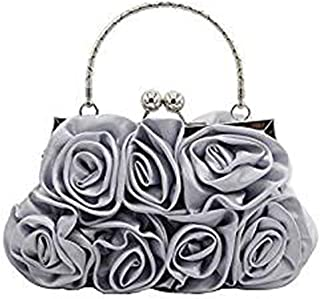 NSHUN Flower Design Satin and Silk Women Wedding Clutch Bag/Handbags Evening Clutch Bag Purse
