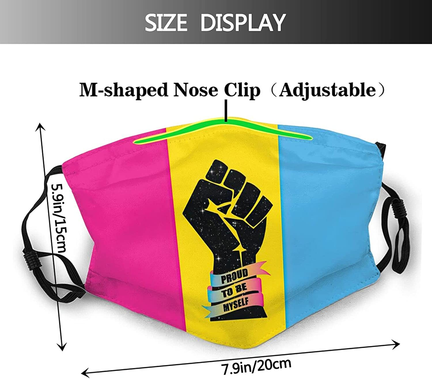 Pansexual Face Mask Balaclava Washable Mask Reusable With 2 Filters, For Adult Women Men&Teens