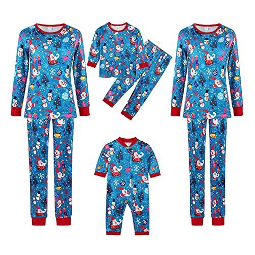Pijamas a juego para la familia de Navidad de vacaciones conjuntos de ropa de dormir de manga larga pijama de ciervo conjuntos de ropa de dormir de alce (g-azul, hombres, XXL)