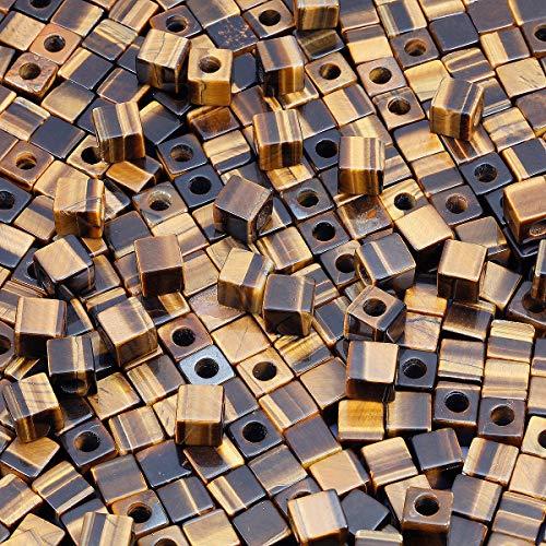 KYEYGWO - Lote de 20 cuentas cuadradas de ojo de tigre con piedra natural a granel, con agujero de 5 mm, grandes agujeros para fabricación de joyas, pulseras y collares.