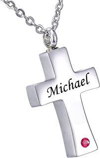 HooAMI Cremation Jewelry for Ashes Personalized Name Bar Urn Necklace for Women Men