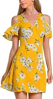 Demetory Women's Off The Shoulder Floral Split Maxi Dress, Floral Graceful Slit Beach Maxi Dress