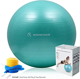 Mounchain Yoga Ball(Multiple Sizes and Colours) for Fitness, Exercise Ball 2000lbs Anti Burst Equipment for Balance,Gym,Desk Chairs(with 5 Pcs Resistance Loop Exercise Bands or not)