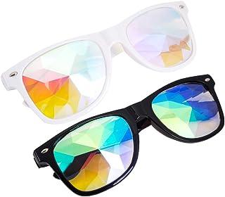 SLTY Kaleidoscope Glasses,Halloween Rave Rainbow Crystal Lens Steampunk Goggles