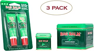 Vermont's Original Bag Balm 3 Pack Bundle for Dry, Cracked Skin, Hands, Lips, 8 Ounce Tin, 1 Ounce Tin, 2 Pack Lip Balm On-The-Go Tubes