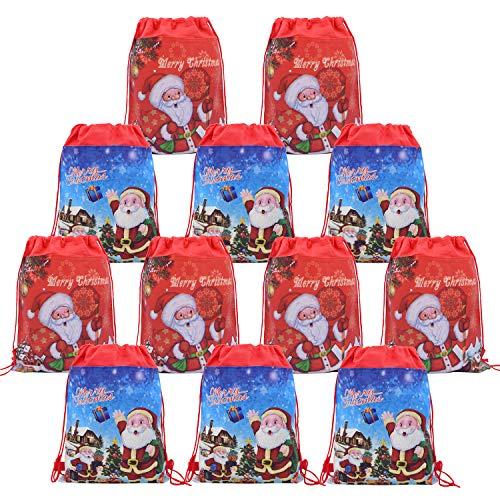 Baiobfm 12 Christmas Santa Drawstring Pouch Backpack Bags