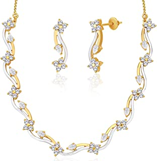 Viyari Ashini Flower Cubic Zirconia 18 Inch Goldtone Necklace Earrings Jewelry Set