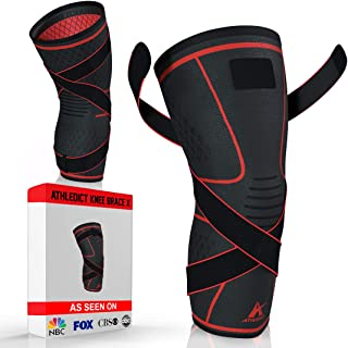 Athledict Knee Brace Compression Sleeve with Strap for Best Support & Pain Relief for Meniscus Tear,  Arthritis,  Running,  Basketball,  MCL,  Crossfit,  Jogging and Post Surgery Recovery for Men & Women