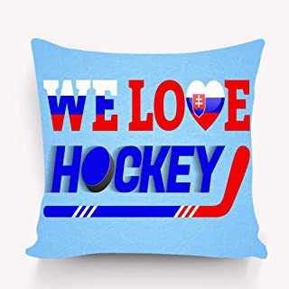YILINGER Throw Pillows Stylish Chic Pillowcases Zippered 18X18 Inch Slovakia ice Hockey Slovak Winter Sport Love Poster Heart Symbol Tradition Colors Cloth Colored