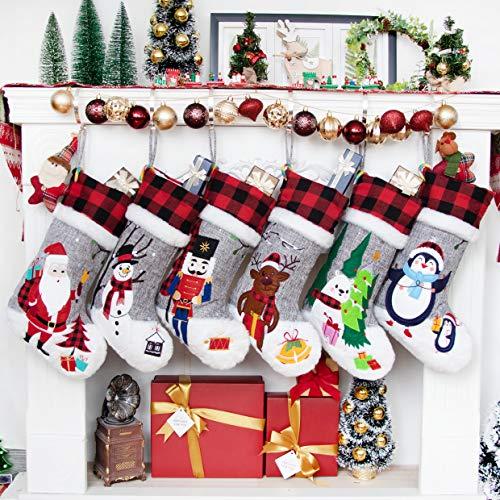 BHD BEAUTY Set of 6 Christmas Stockings Gray Burlap Buffalo...