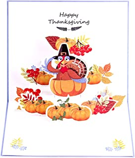 Paper Spiritz Pop up Thank You Card - Christmas, Thank You Day Thank You Card Turkeys and Pumpkin Greeting Card with Envelope