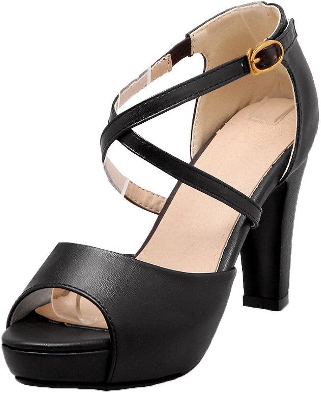 AllhqFashion Women's Buckle Open-Toe High-Heels Pu Solid Sandals, FBULD014821