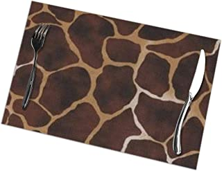 xulih Table Mat Giraffe Print Dining Placemats Set of 6 Kitchen Table Place Mats 12X18 inch for Dining Table