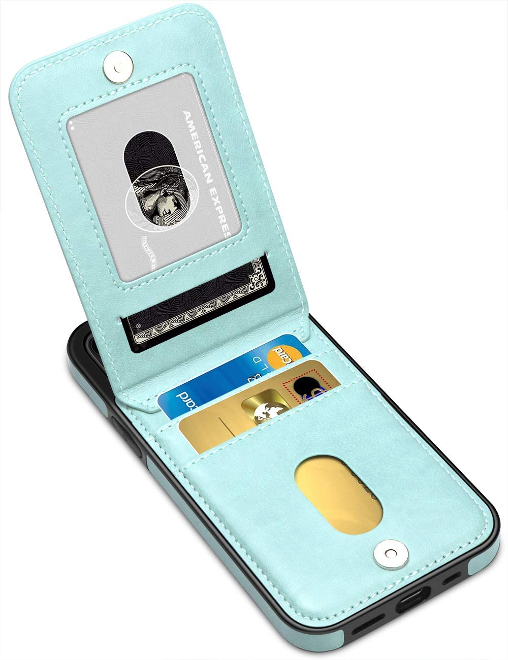 LakiBeibi Compatible with iPhone 12 Case for Women Dual Layer Premium Leather 12 Wallet Case with Card Slot Flip Protective Case Replacement for iPhone 12 & iPhone 12 Pro 6.1 Inches (2020), Mint
