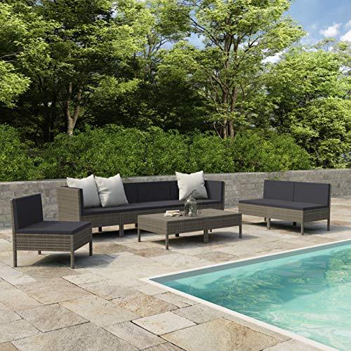 WooDlan Conjunto Muebles de Jardín Ratán | Muebles para terraza/Exterior | Set de Ratán Sintético | Color Gris | Sofá + Mesita Auxiliar