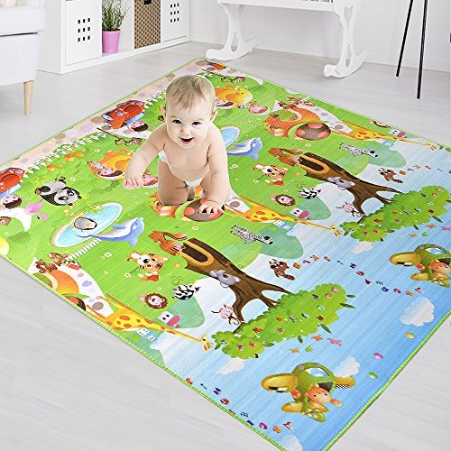BigTree Krabbeldecke Groß Spieldecke Baby Spielmatte Spielteppich, Hautfreundlich und Anti-Rutsch, Babyschleichenmatte Schaumstoffmatte 200 x 180 cm für Baby- und Kinderzimmer